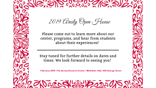Aresty Open House Flyer.