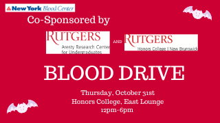 New York Blood Centter Co-Sponsored by Aresty and Honors College Flyer